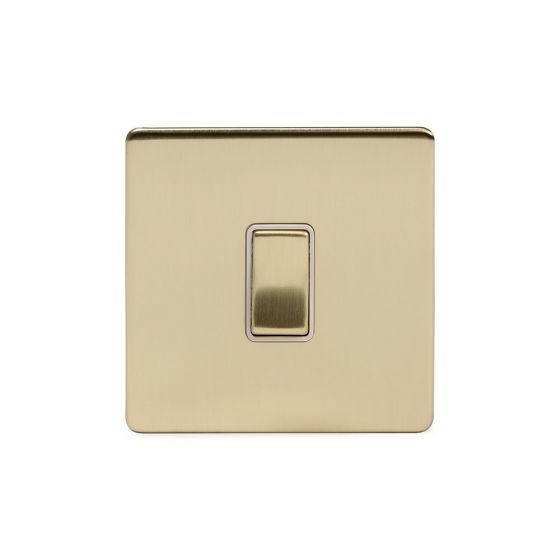 Soho Lighting Brushed Brass 1 Gang Retractive Switch Wht Ins Screwless