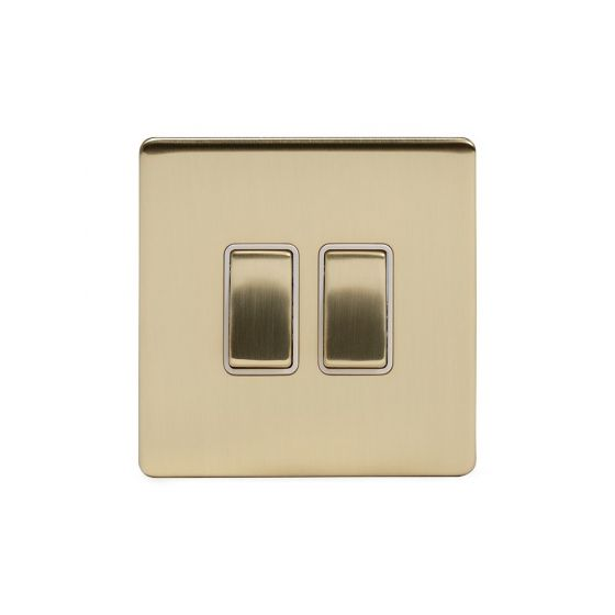 Soho Lighting Brushed Brass 2 Gang Retractive Switch Wht Ins Screwless