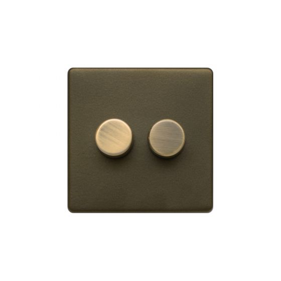 The Eton Collection Bronze 2 Gang 2 Way Trailing Dimmer Screwless 100W LED (250w Halogen/Incandescent)