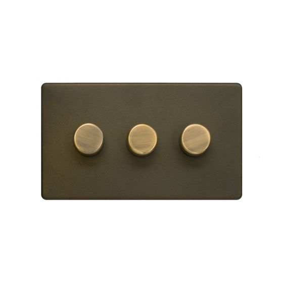 The Eton Collection Bronze 3 Gang 2 Way Trailing Dimmer Screwless 100W LED (250w Halogen/Incandescent)