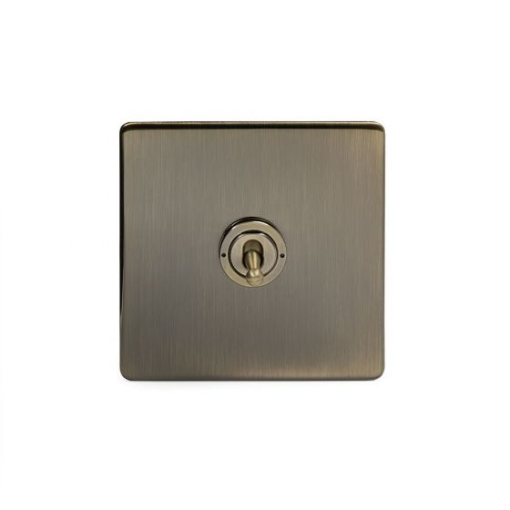 Soho Lighting Antique Brass 1 Gang Retractive Toggle Switch Screwless
