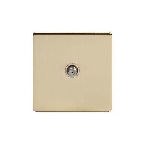 Soho Lighting Brushed Brass 1 Gang Satellite Socket Wht Ins Screwless