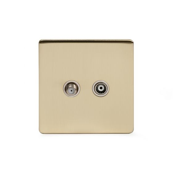 Soho Lighting Brushed Brass TV+ Satellite Socket Wht Ins Screwless