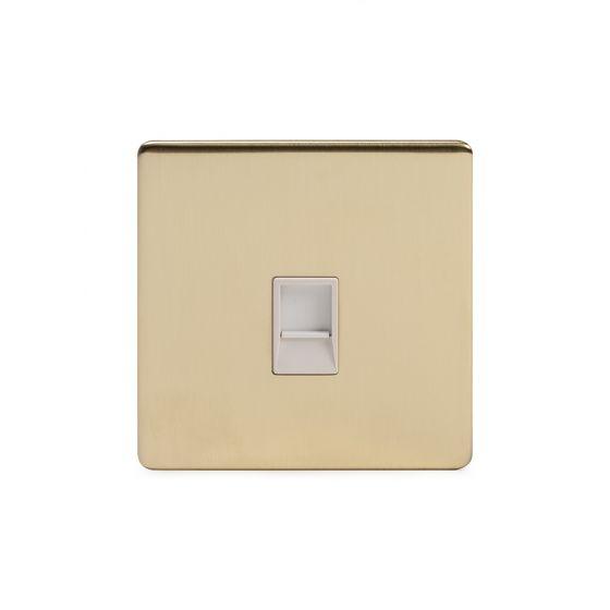 Soho Lighting Brushed Brass 1 Gang Data Socket RJ45 Cat5 Wht Ins Screwless