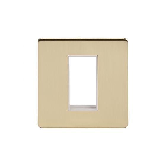 Soho Lighting Brushed Brass Single Data Plate 1 Module Wht Ins Screwless