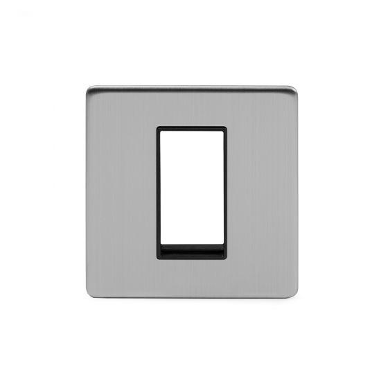 Soho Lighting Brushed Chrome Single Data Plate 1 Module Blk Ins Screwless