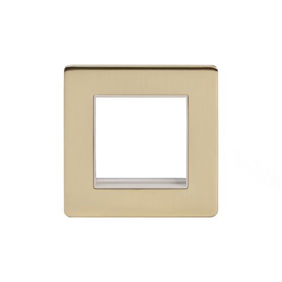 Soho Lighting Brushed Brass Single Data Plate 2 Modules Wht Ins Screwless