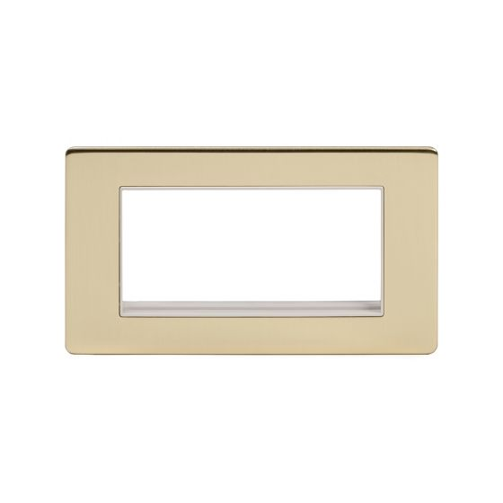 Soho Lighting Brushed Brass Double Data Plate 4 Modules Wht Ins Screwless