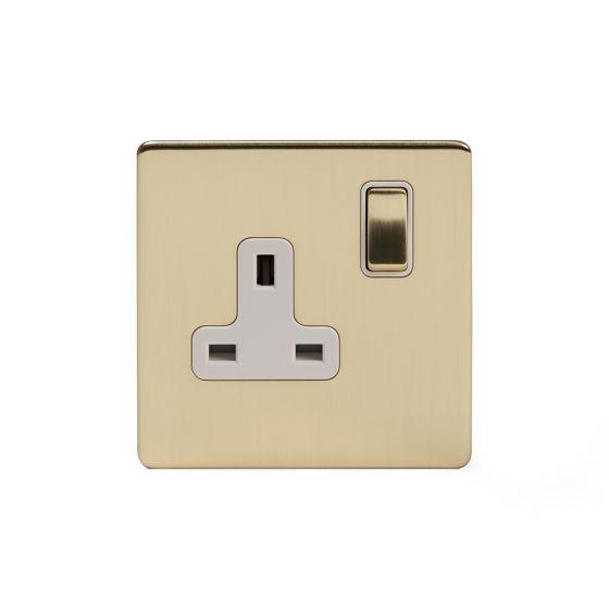 Soho Lighting Brushed Brass 13A 1 Gang Switched Socket