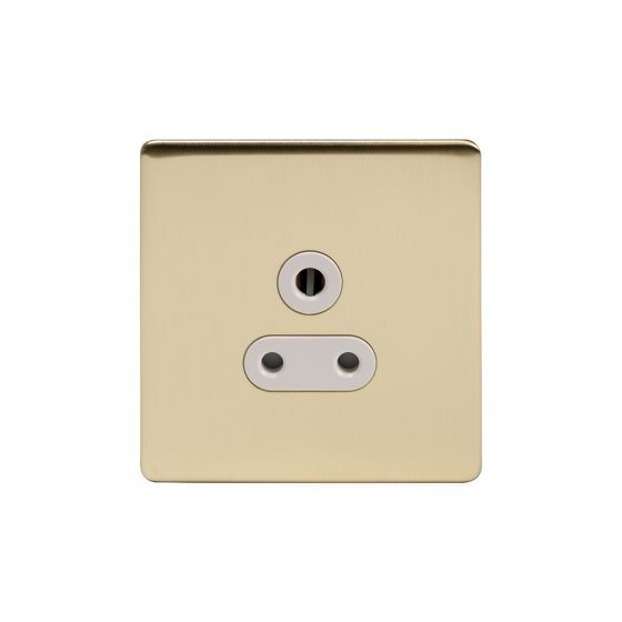 Soho Lighting Brushed Brass 5 Amp Unswitched Socket Wht Ins Screwless