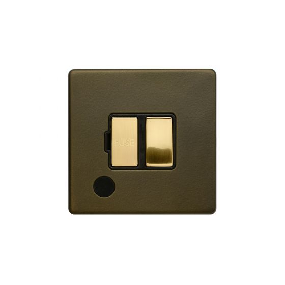 Soho Fusion Bronze & Brushed Brass 13A Switched Fuse Flex Outlet Black Inserts Screwless