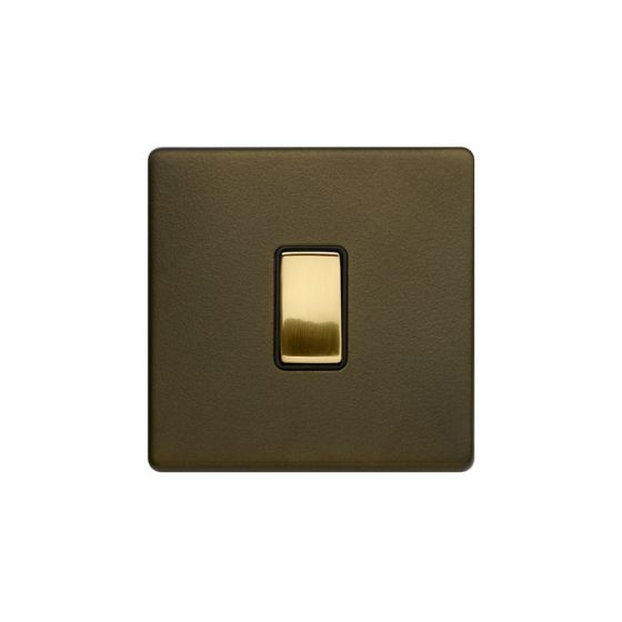 Soho Fusion Bronze & Brushed Brass 20A 1 Gang DP Switch Black Inserts Screwless