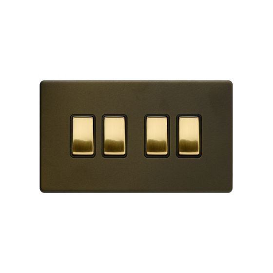 Soho Fusion Bronze & Brushed Brass 10A 4 Gang 2 Way Switch Black Inserts Screwless