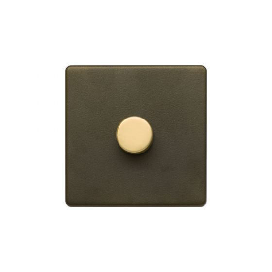 Soho Fusion Bronze & Brushed Brass 1 Gang 2 Way Trailing Dimmer Screwless 100W LED (250w Halogen/Incandescent)