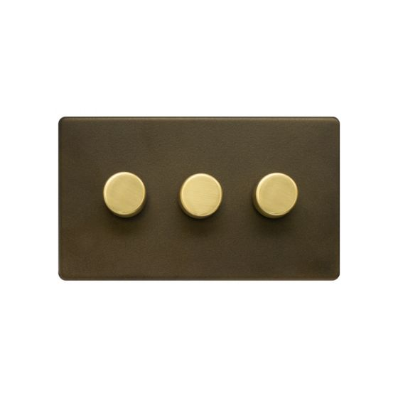 Soho Fusion Bronze & Brushed Brass 3 Gang 2 Way Trailing Dimmer Screwless 100W LED (250w Halogen/Incandescent)