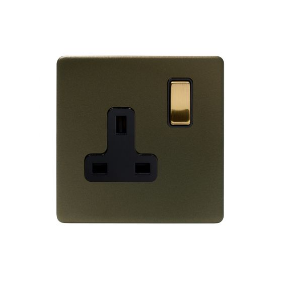 Soho Fusion Bronze & Brushed Brass 13A 1 Gang Switched Socket, DP Black Inserts Screwless