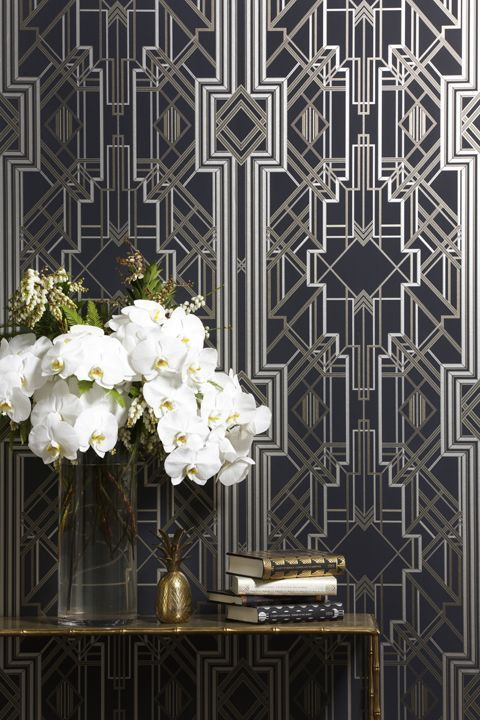 art deco stepped pattern wallpaper