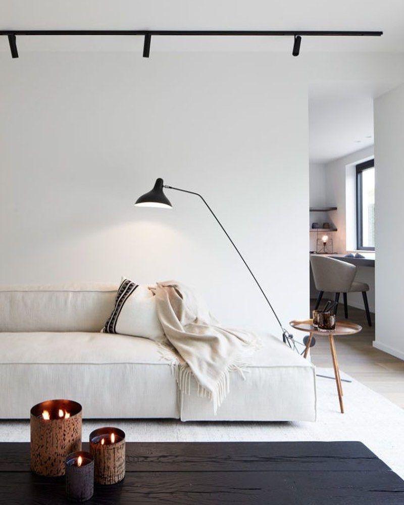 Scandinavian style white living room interior design