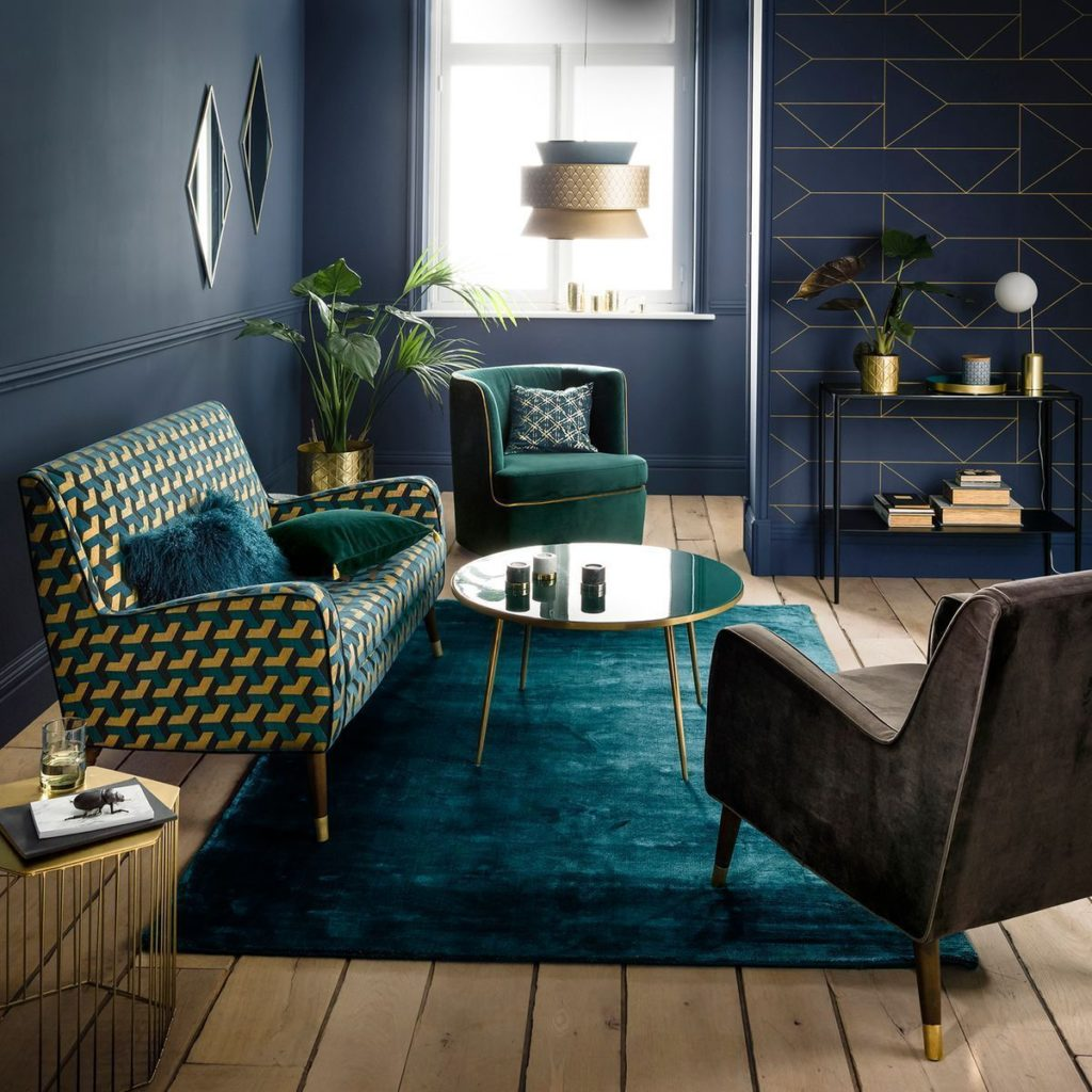 Blue and gold art deco living room