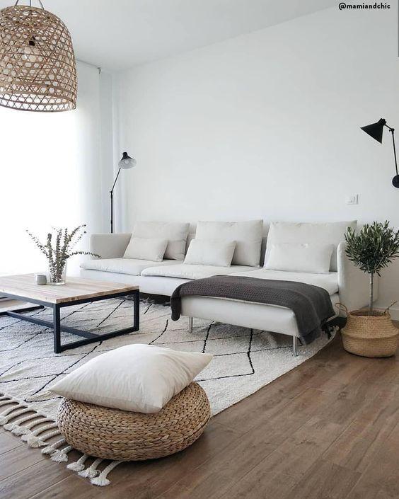 Scandinavian white interior design living room home
