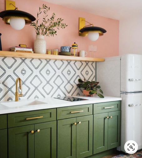 art deco green and pink kitchen