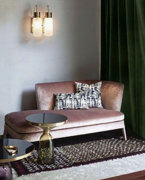 splendid pink sofa and green curtains