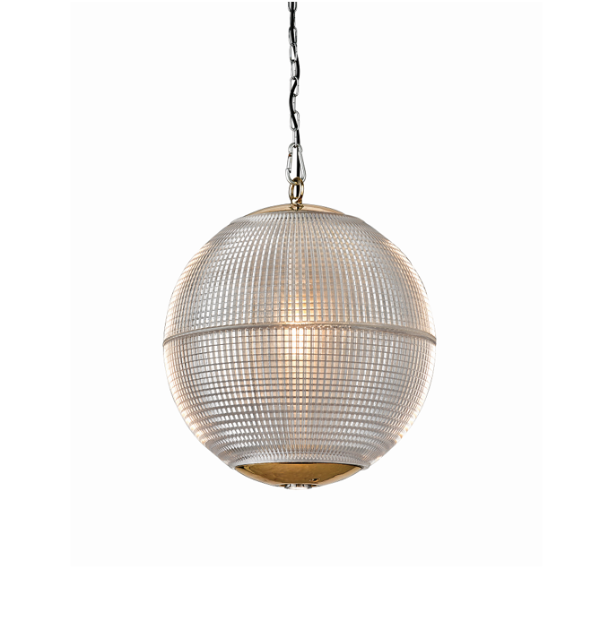 Hollen Globe Aged Brass Glass Pendant Light - The Schoolhouse Collection