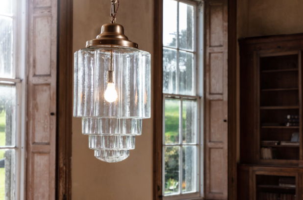 glass house schoolhouse art deco pendant light