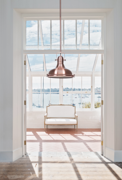 industrial chic lighting living room kitchen interior design decor  rose gold pendant
