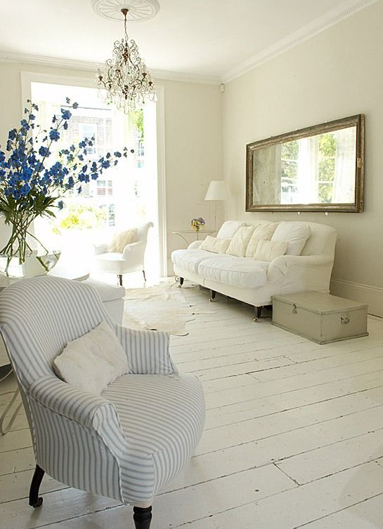 white painted wood floor living room interior design white
