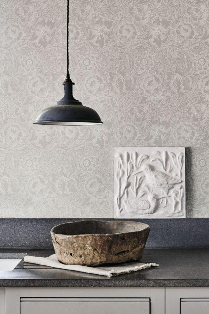 Pure Poppy wallpaper, William Morris