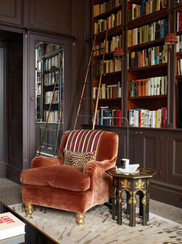 maximalism books library interior design