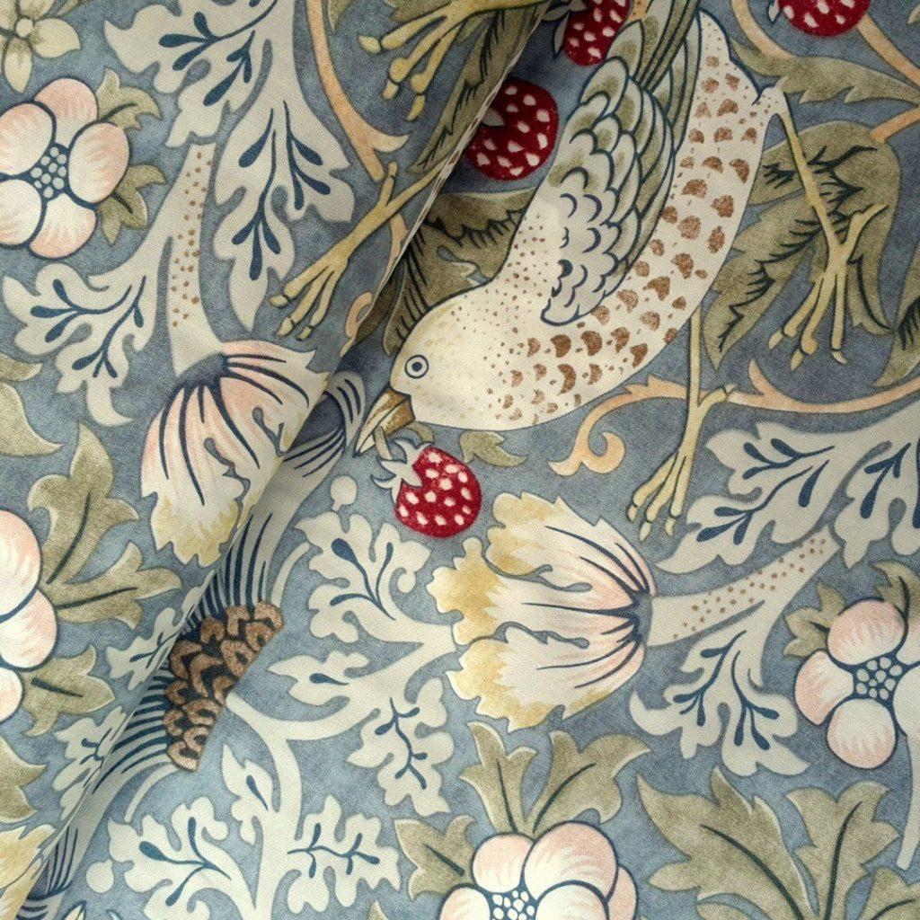 Strawberry Thief on fabric, William Morris